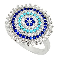 3.68cts blue sapphire (lab) turquoise 925 sterling silver ring size 7 c9103