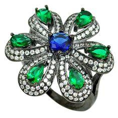 Blue sapphire emerald quartz black rhodium 925 silver ring size 7.5 c22898