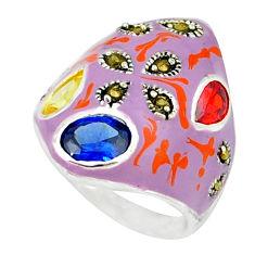 Blue sapphire quartz red garnet enamel 925 sterling silver ring size 7 c18322