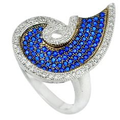 Blue sapphire quartz round topaz 925 sterling silver ring size 5.5 c23717