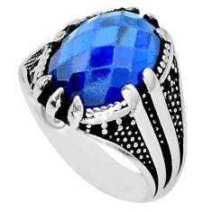 7.22cts blue sapphire quartz topaz 925 sterling silver mens ring size 9.5 c11548