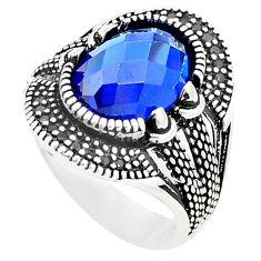 Blue sapphire quartz topaz 925 sterling silver mens ring size 10 c11424