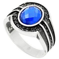 Blue sapphire quartz topaz 925 sterling silver mens ring size 10 c11497