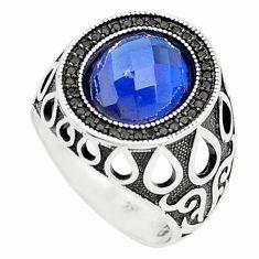 Blue sapphire quartz topaz 925 sterling silver mens ring size 9 c11454
