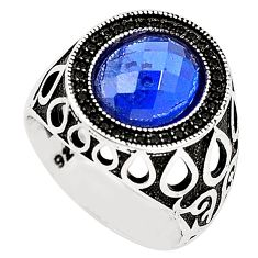 Blue sapphire quartz topaz 925 sterling silver mens ring size 9 c11450
