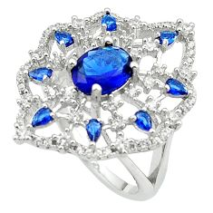 Blue sapphire quartz topaz 925 sterling silver ring size 6.5 c19193