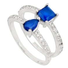 3.32cts blue sapphire quartz white topaz 925 sterling silver ring size 6 c19284