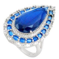 15.25cts blue sapphire quartz white topaz 925 sterling silver ring size 7 c19153