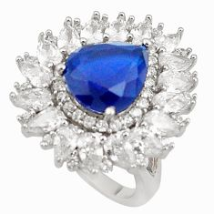 9.48cts blue sapphire quartz white topaz 925 sterling silver ring size 7 c19175