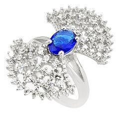 Blue sapphire quartz white topaz 925 sterling silver ring size 8 c19224