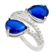 7.53cts blue sapphire quartz white topaz round 925 silver ring size 6.5 c19996