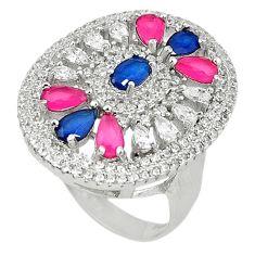 Blue sapphire ruby quartz topaz 925 sterling silver ring size 8 c22896