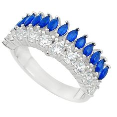 Blue sapphire topaz quartz 925 sterling silver ring jewelry size 9 c19256