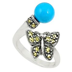 Blue sleeping beauty turquoise 925 silver adjustable ring size 6.5 c22318