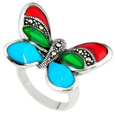 Blue sleeping beauty turquoise 925 silver butterfly ring jewelry size 6 c15999