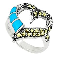 2.59cts blue sleeping beauty turquoise 925 silver heart ring size 8.5 c22918