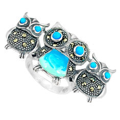 Blue sleeping beauty turquoise 925 silver owl ring jewelry size 5.5 c16173