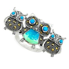 Blue sleeping beauty turquoise 925 silver owl ring jewelry size 6.5 c16179