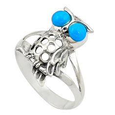 Blue sleeping beauty turquoise 925 silver owl ring jewelry size 8 c21665