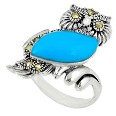 5.52cts blue sleeping beauty turquoise 925 silver owl ring size 6 c22913