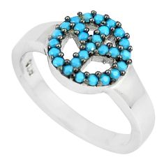0.76cts blue sleeping beauty turquoise 925 silver solitaire ring size 4.5 c23399
