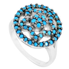 1.16cts blue sleeping beauty turquoise 925 silver solitaire ring size 5.5 c23423