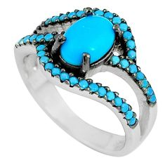 2.72cts blue sleeping beauty turquoise 925 silver solitaire ring size 4.5 c23430