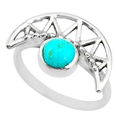 1.39cts blue sleeping beauty turquoise 925 silver solitaire ring size 5.5 r72741