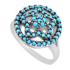 2.12cts blue sleeping beauty turquoise 925 sterling silver ring size 6.5 c23386