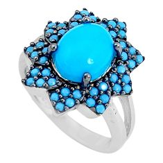 4.22cts blue sleeping beauty turquoise 925 sterling silver ring size 4.5 c23395