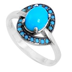 2.03cts blue sleeping beauty turquoise 925 sterling silver ring size 5.5 c23457