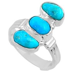 11.86cts blue sleeping beauty turquoise 925 sterling silver ring size 7.5 r65618