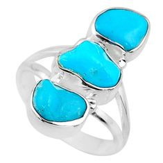 9.81cts blue sleeping beauty turquoise 925 sterling silver ring size 6 r65601