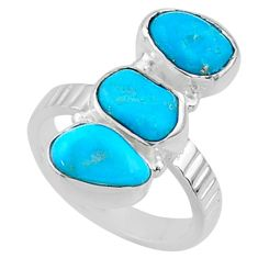 11.18cts blue sleeping beauty turquoise 925 sterling silver ring size 6 r65609