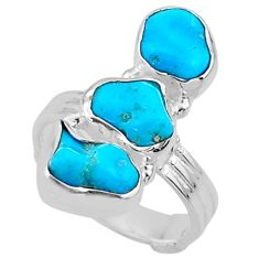 11.11cts blue sleeping beauty turquoise 925 sterling silver ring size 6 r65613