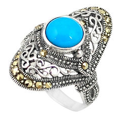 Blue sleeping beauty turquoise 925 sterling silver ring size 7 c17407