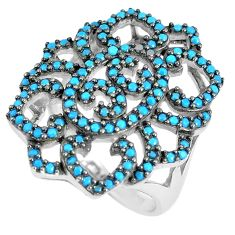 Blue sleeping beauty turquoise 925 sterling silver ring size 7 c23417