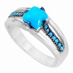 1.39cts blue sleeping beauty turquoise 925 sterling silver ring size 7 c23435