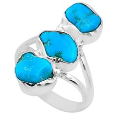 11.13cts blue sleeping beauty turquoise 925 sterling silver ring size 7 r65604