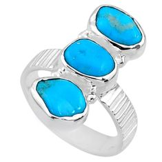 11.18cts blue sleeping beauty turquoise 925 sterling silver ring size 7 r65606