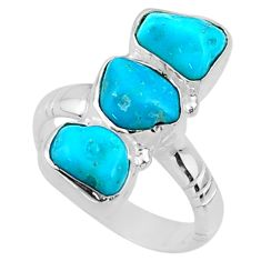 11.97cts blue sleeping beauty turquoise 925 sterling silver ring size 7 r65610