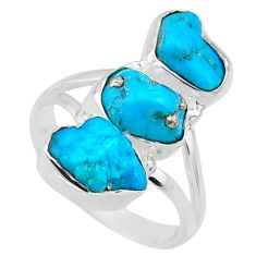 10.67cts blue sleeping beauty turquoise 925 sterling silver ring size 7 r65617