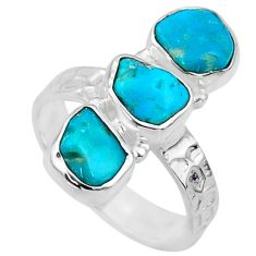 11.57cts blue sleeping beauty turquoise 925 sterling silver ring size 8 r65603