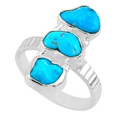 11.18cts blue sleeping beauty turquoise 925 sterling silver ring size 8 r65612
