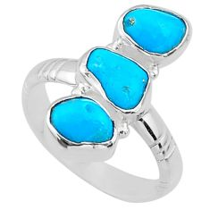 11.97cts blue sleeping beauty turquoise 925 sterling silver ring size 9 r65614