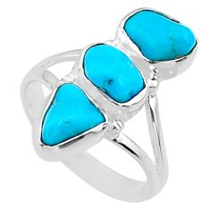 10.25cts blue sleeping beauty turquoise fancy 925 silver ring size 8 r65608