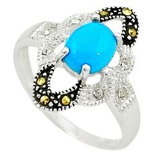 Blue sleeping beauty turquoise fine marcasite 925 silver ring size 7.5 c22068
