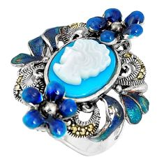 Blue sleeping beauty turquoise lady face 925 silver flower ring size 6.5 c16254