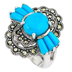 Blue sleeping beauty turquoise marcasite 925 silver ring jewelry size 6.5 c16108
