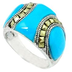 Blue sleeping beauty turquoise marcasite 925 silver ring size 6.5 c18729